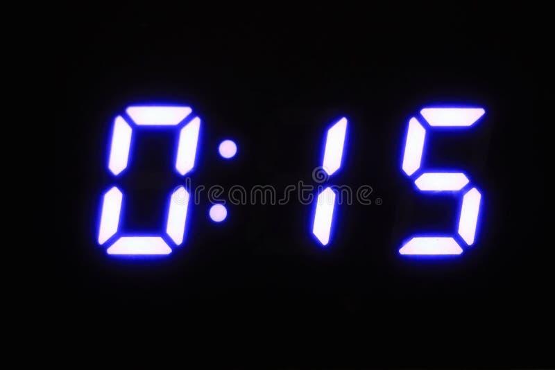 Digital scoreboard The figure is 0.15. Neon numbers. Neon light royalty free stock photos