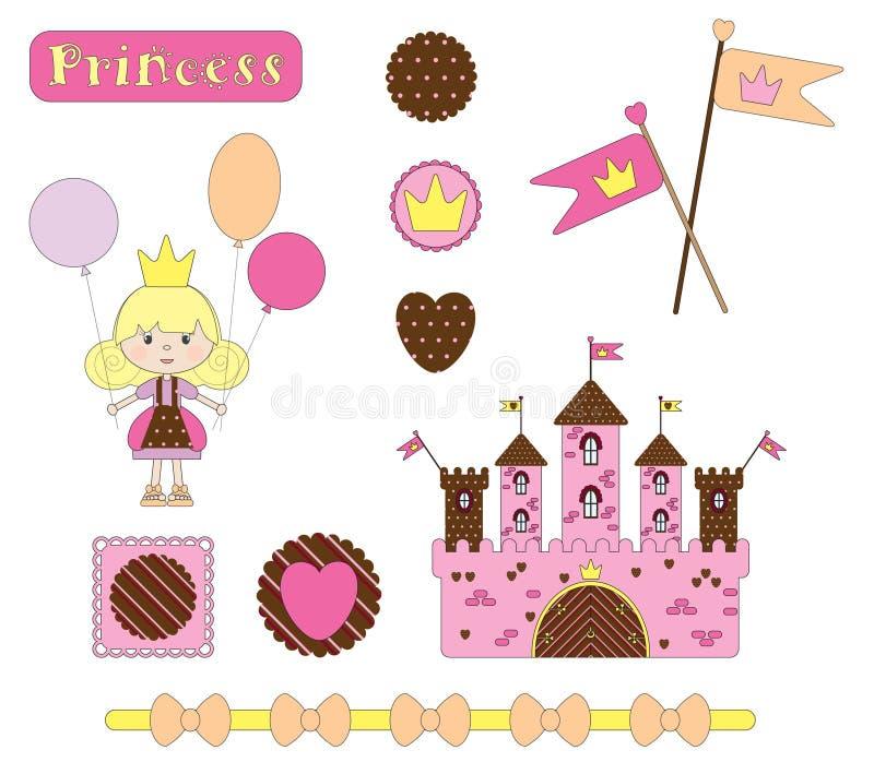 Digital scrap-booking. Princess set royalty free illustration
