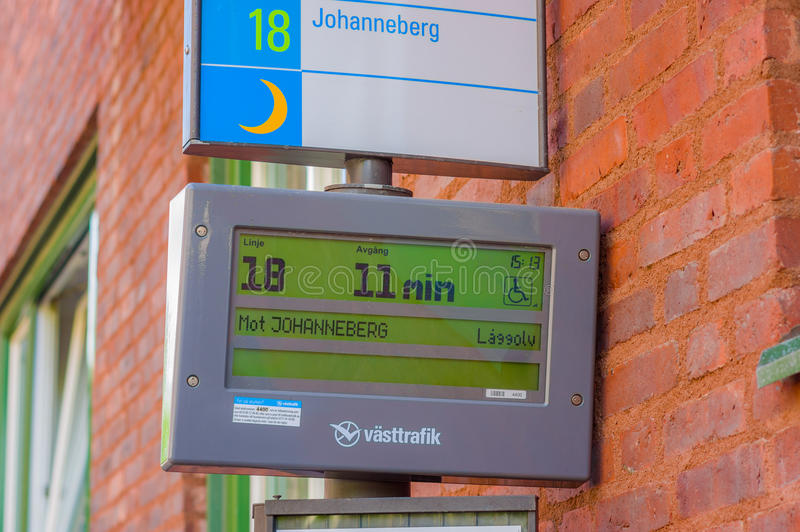 Digital screen sign in bus stop, Gothenburg city stock images