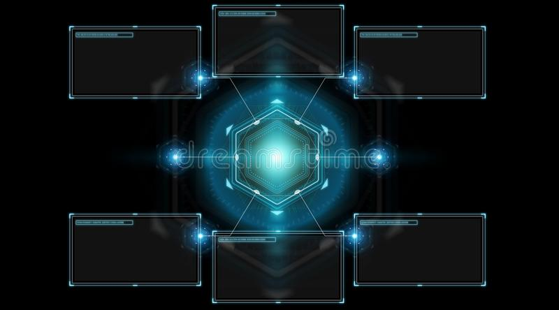 Digital screens interface with holograms datas 3D rendering. Digital screens interface with holograms datas on black background 3D rendering stock illustration