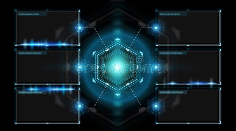 Digital screens interface with holograms datas 3D rendering stock illustration