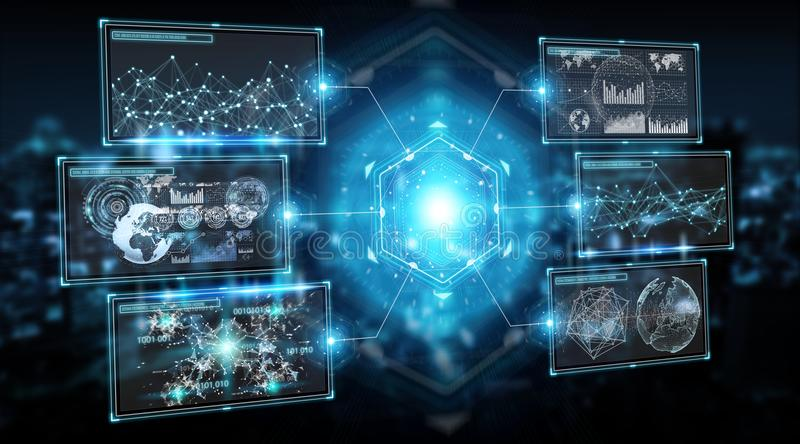 Digital screens interface with holograms datas 3D rendering vector illustration