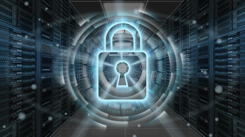 Digital security hologram with padlock on server room - Cyber security or network protection - 3D rendering. Future technology web services for business and stock illustration