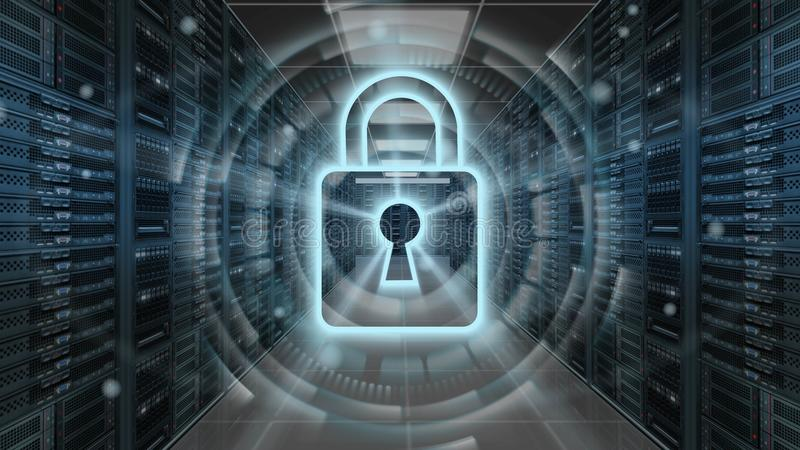 Digital security hologram with padlock on server room - Cyber security or network protection - 3D rendering stock illustration