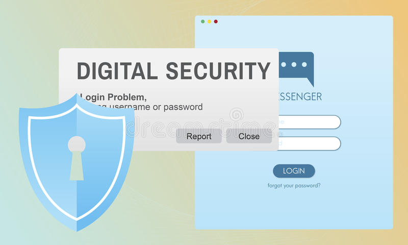 Digital Security Protocol Protection Technology Concept royalty free illustration