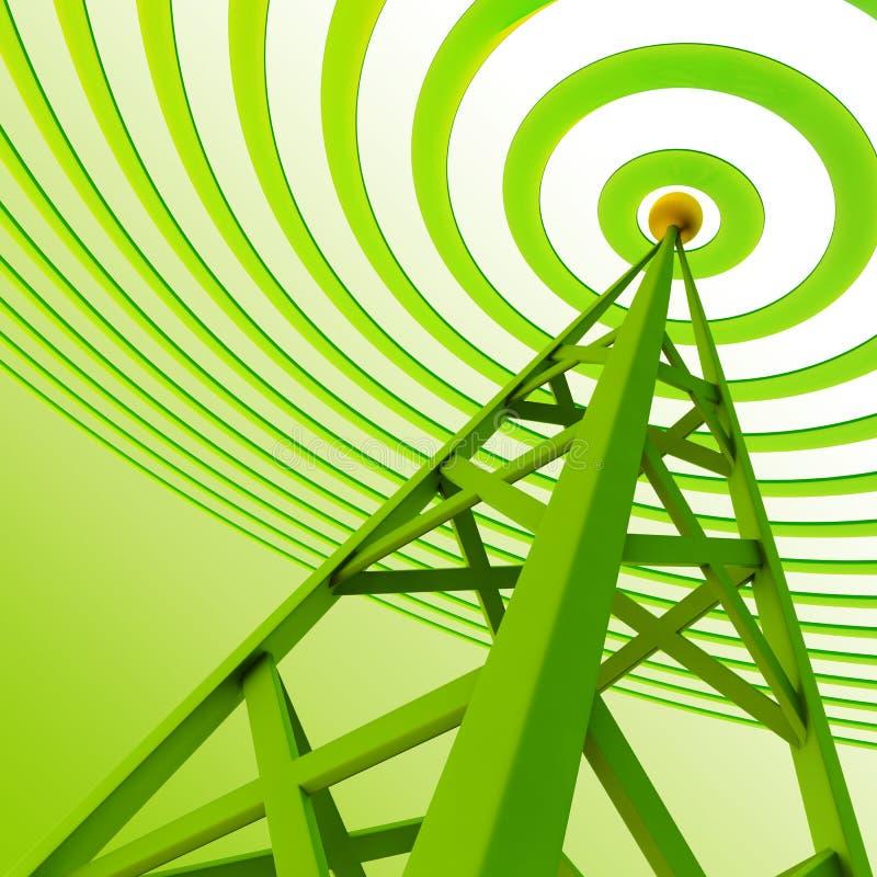 Digital-Sender sendet Signale vom hohen Kontrollturm stock abbildung