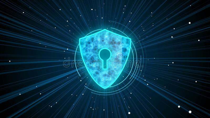 Digital shield protecting user data against malware and spyware harmful files royalty free illustration