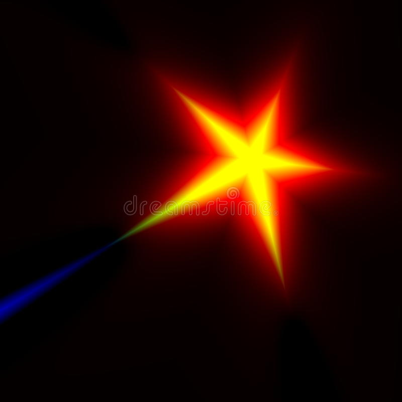 Digital shooting star fantasy. Night sky stars. Heat rays. Prize win. Lens glitz. Five star rating. Warm color. Magic comet. stock images