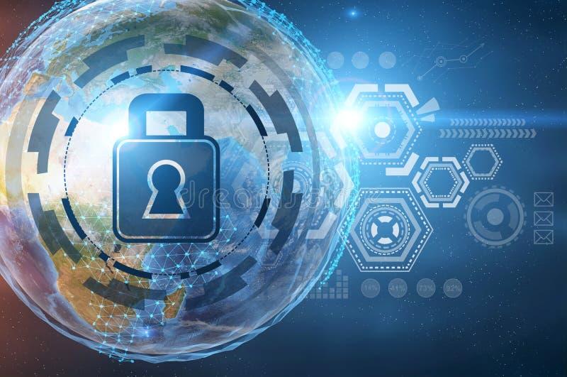 Digital-Sicherheit HUD im offenen Raum, Erde stock abbildung