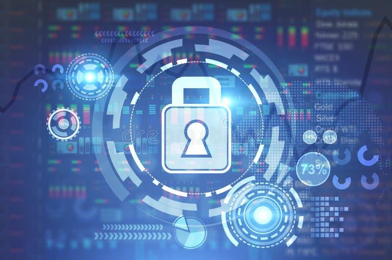 Digital-Sicherheit HUD-Zusammenfassungsschnittstellenhintergrund lizenzfreie abbildung