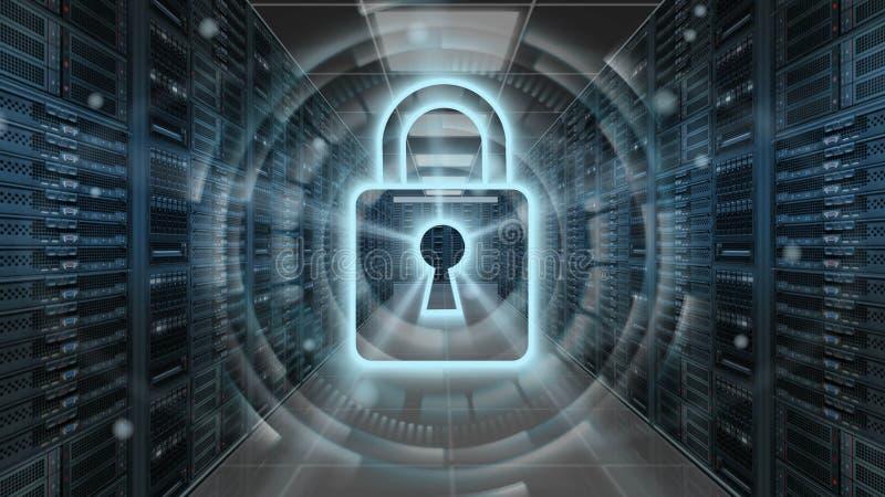Digital-Sicherheitshologramm mit Vorhängeschloß auf Serverraum - Internetsicherheits- oder Netzschutz - Wiedergabe 3D stock abbildung
