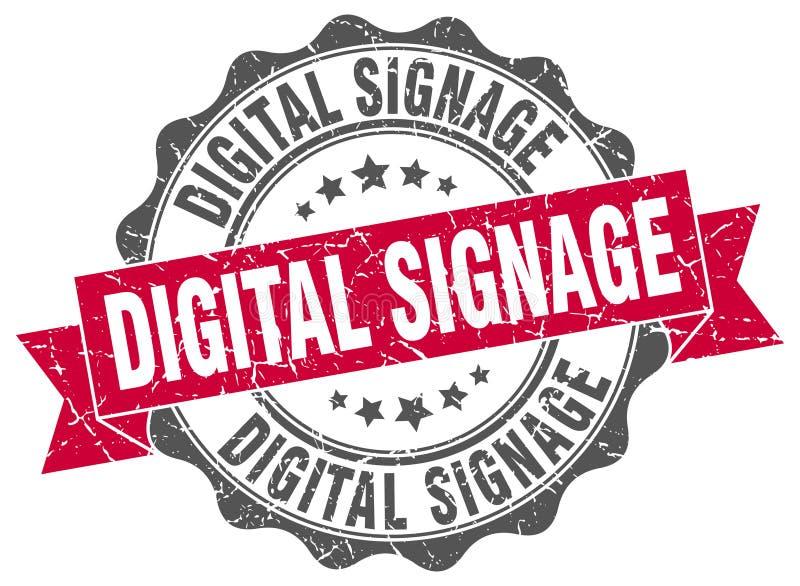 Digital signage seal. stamp. Digital signage round seal isolated on white background stock illustration