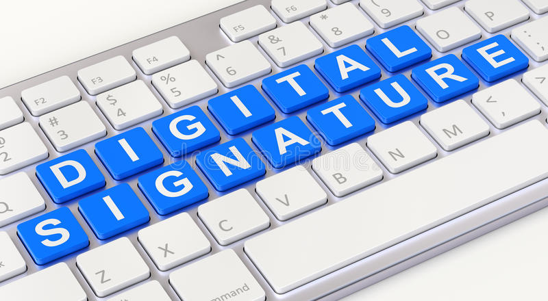 Digital signature concept. With computer keyboard - 3D illustration royalty free illustration