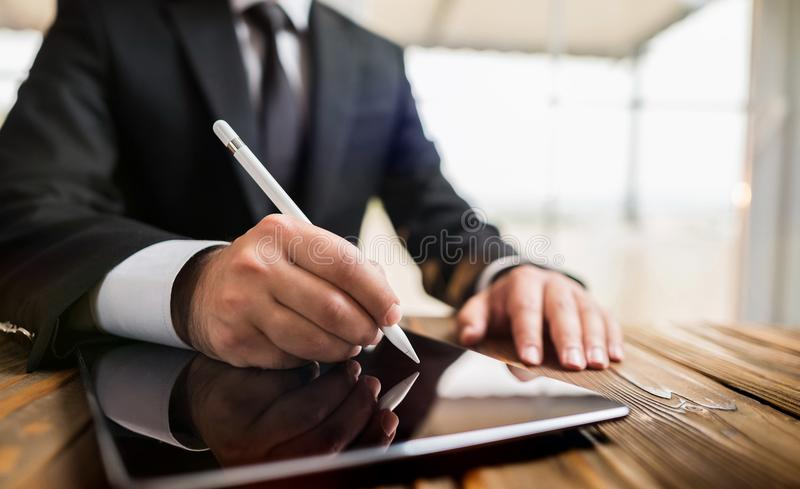 Digital Signature Concept with Tablet and Stylus. Pen stock photography