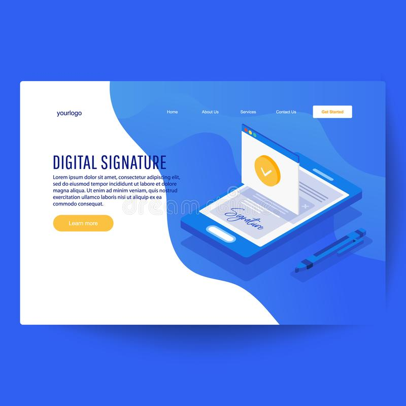 Digital signature. Creative people collection. Digital signature. Flat 3d web isometric contract signature infographic concept vector stock illustration