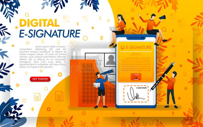 Digital signature for document security. E-signatures for business purposes and making agreements, concept vector ilustration. can. Use for, landing page vector illustration