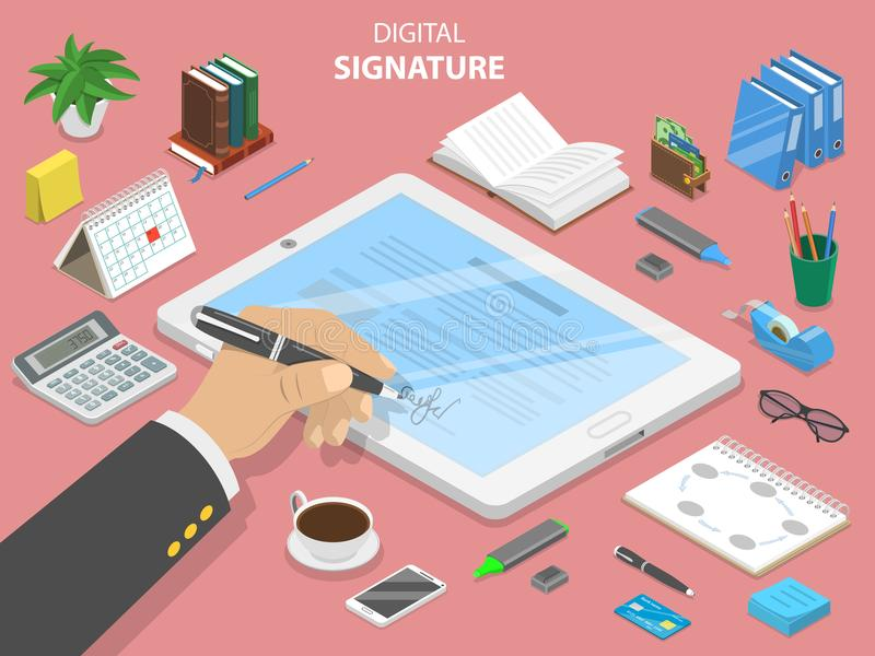 Digital signature flat isometric vector concept. A mans hand is signing a contract on the digital tablet vector illustration