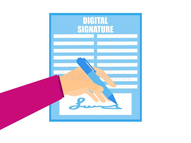 Digital signature. A hand is holding a pen signing a digital document. Flat style. Vector. Illustration vector illustration
