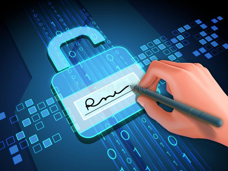 Digital signature and lock. Digital signature grants access to digital data. 3D illustration stock illustration