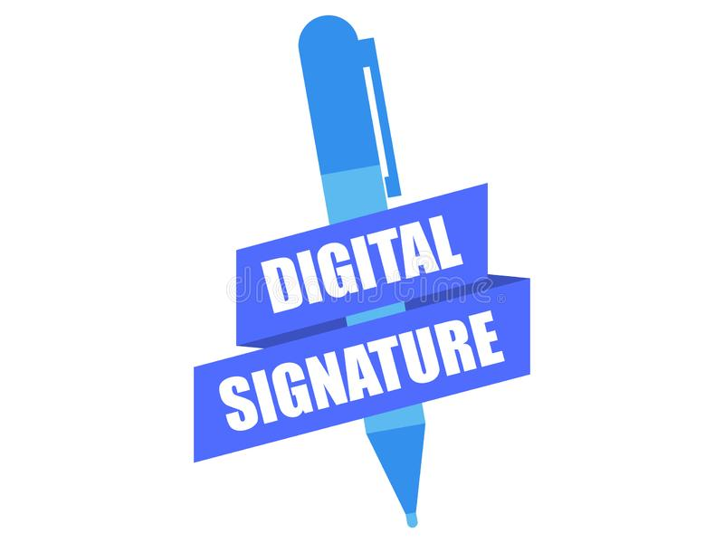 Digital signature. Pen and ribbon isolated on white background. Vector royalty free illustration