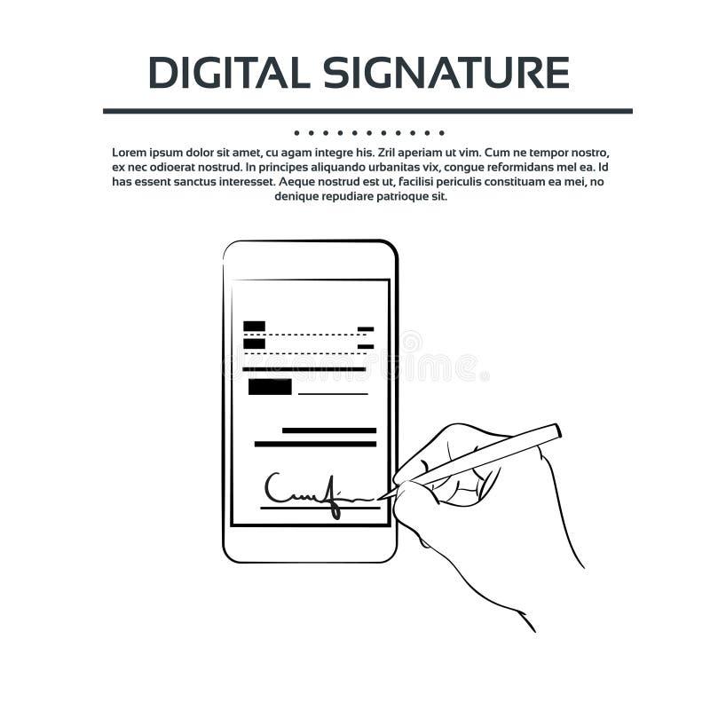Digital Signature Smart Cell Phone Businessman. Black Hands Silhouette Sign Up Vector Illustration royalty free illustration