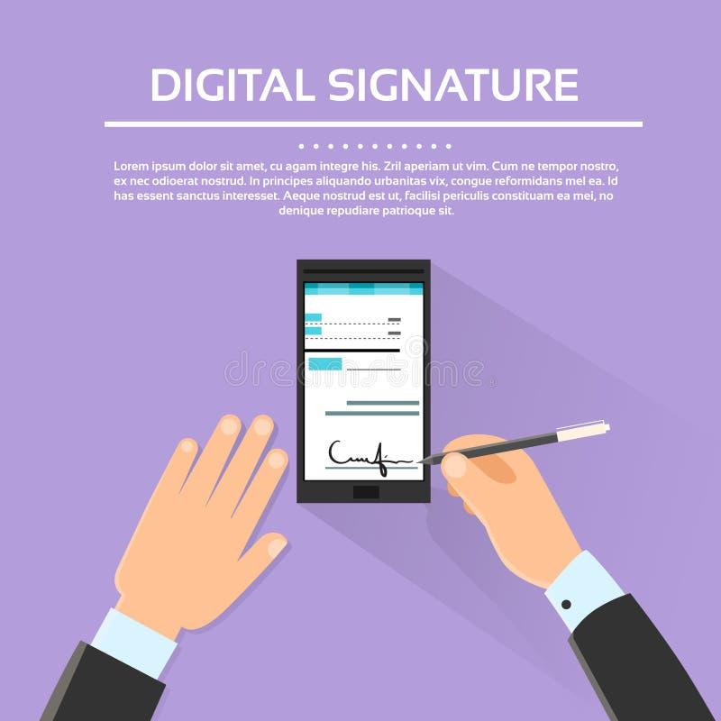 Digital Signature Smart Cell Phone Businessman. Hands Sign Up Flat Vector Illustration stock illustration