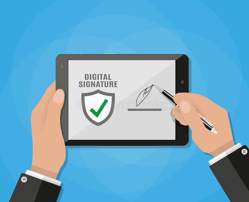Digital Signature on tablet. Businessman Hand Sign Digital Signature on tablet. vector illustration in flat design on blue background stock illustration
