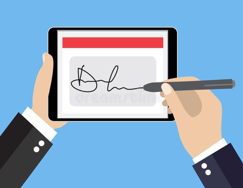 Digital signature on tablet. Businessman Hands signing Digital signature on tablet. Vector illustration in flat design for business concept vector illustration