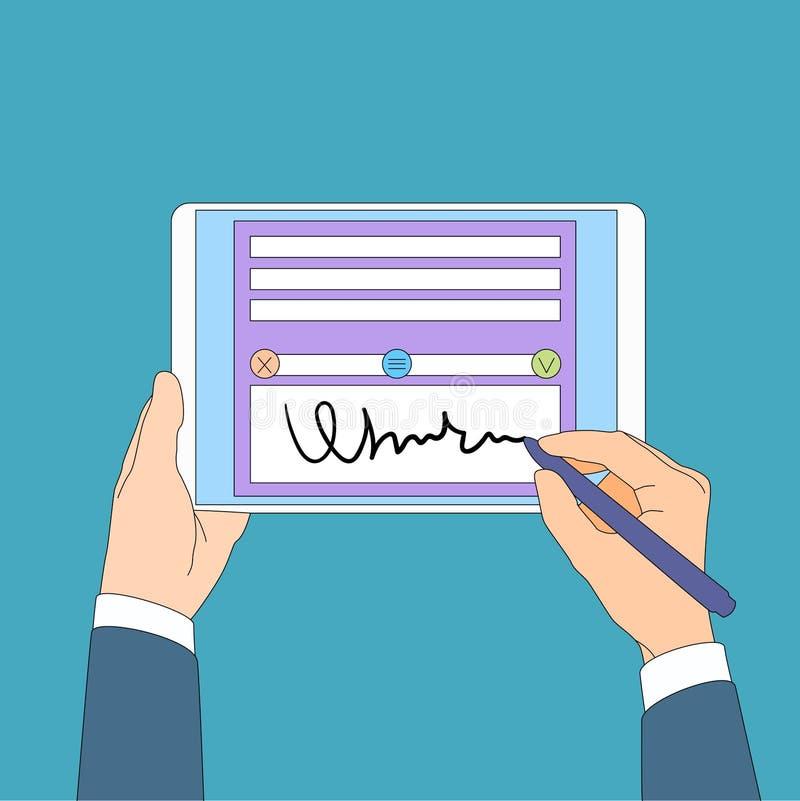 Digital Signature Tablet Computer Businessman Hands Sign Up. Flat Vector Illustration stock illustration