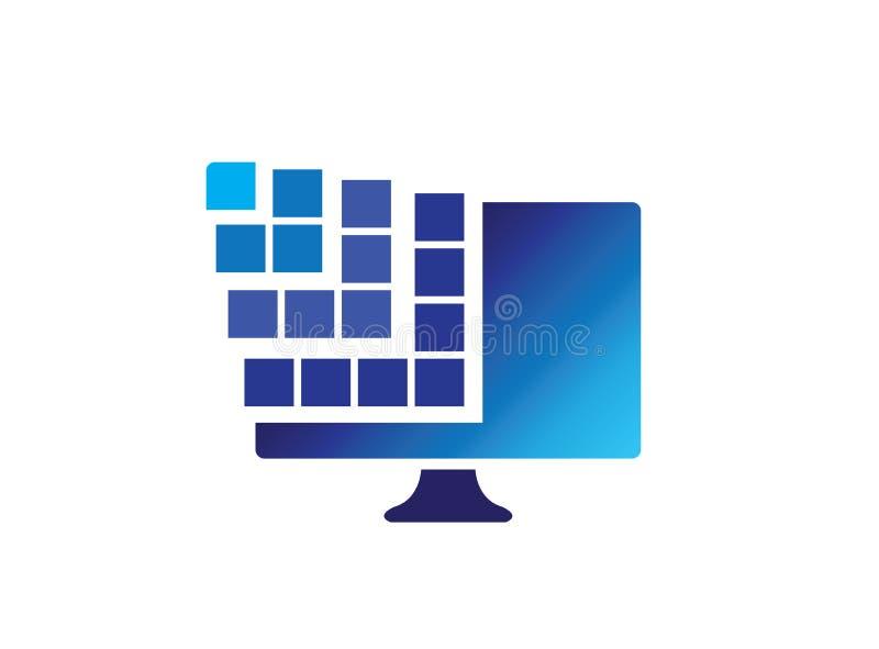 Digital skärm med fyrkanter för logodesignillustrationen, anslutningssymbol, bärbar datorreparationssymbol royaltyfri illustrationer