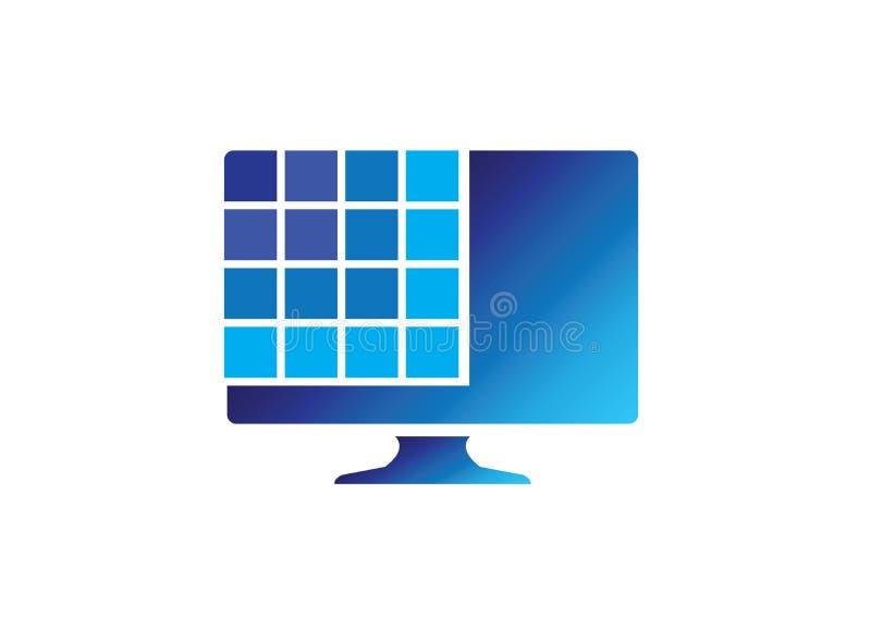 Digital sk?rm med fyrkanter f?r logodesignillustrationen, anslutningssymbol, b?rbar datorreparationssymbol royaltyfri illustrationer