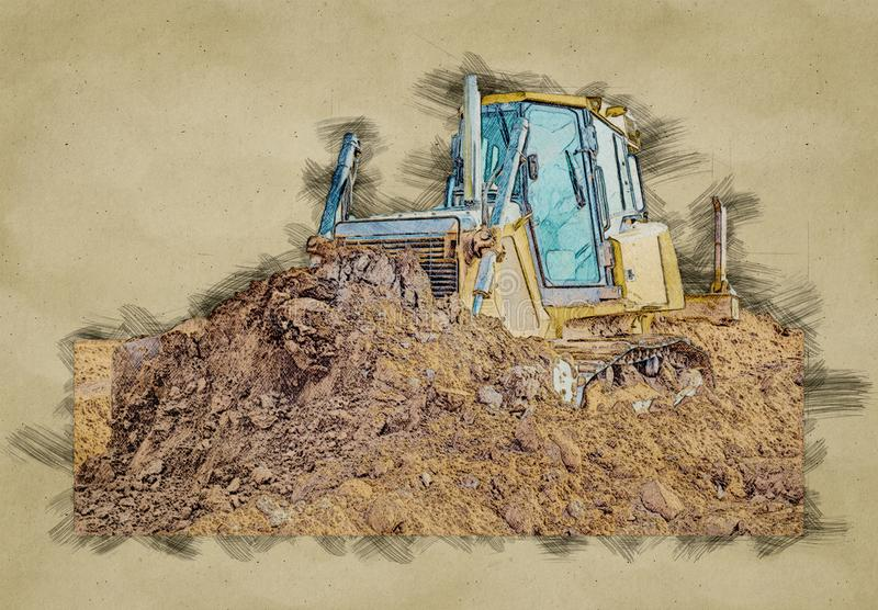Digital sketch of Crawler bulldozer - excavator work on construction site or sand pit. Scoop, industry, equipment, machine, loader, isolated, shovel, digger stock photo