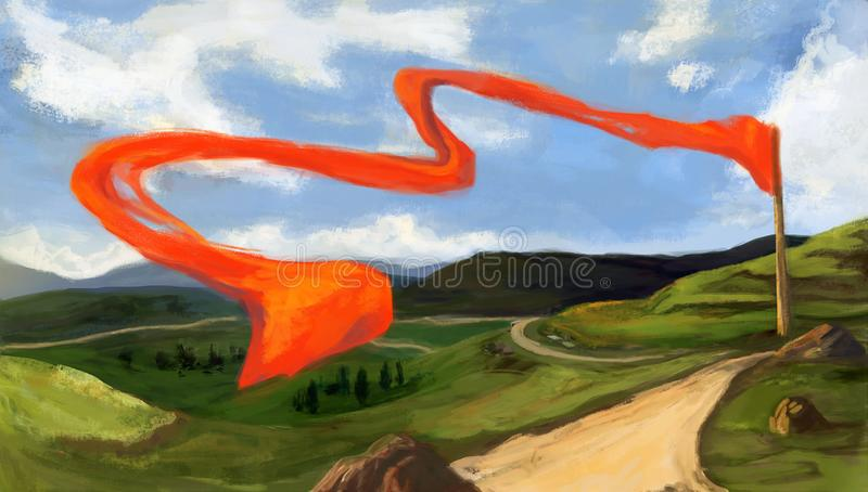 Digital sketch. Landscape with mountains, green hills and fields, country road, rocks. Red flag floating. royalty free illustration