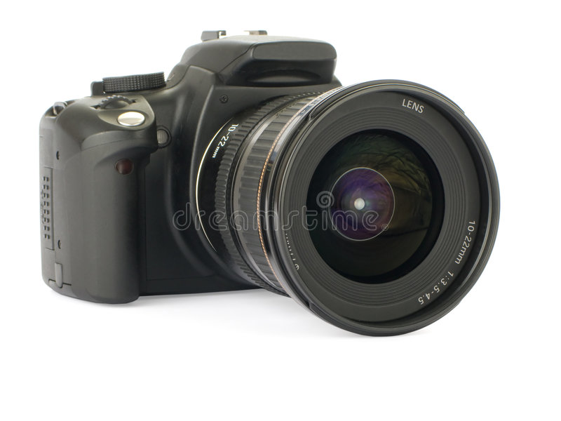 Digital slr. Isolated on a white background royalty free stock photos