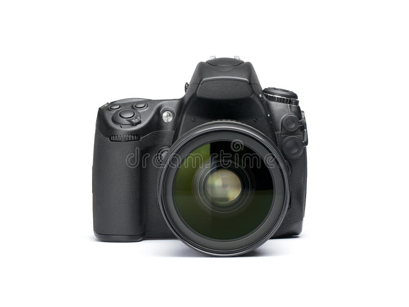Digital SLR camera. Front view of digital SLR camera isolated on white background royalty free stock photography