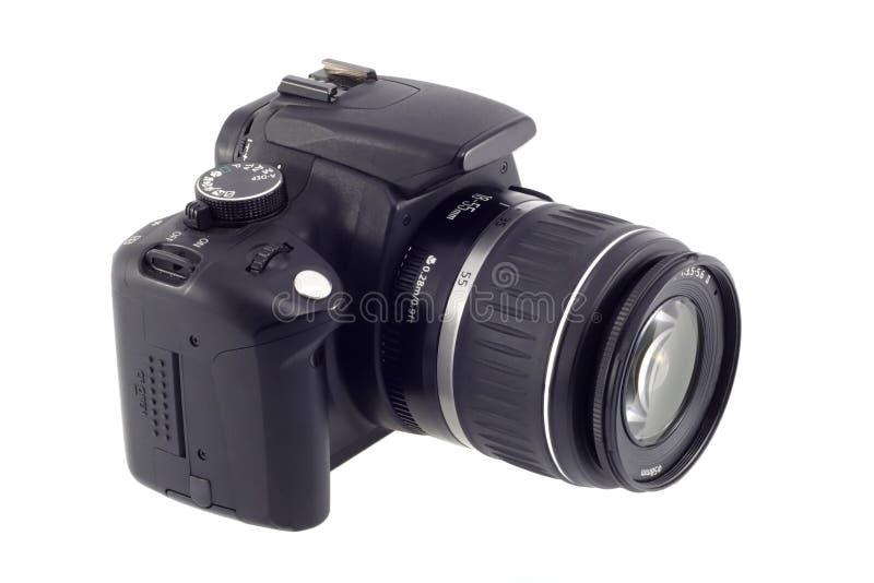Digital slr camera. Isolated on white stock image