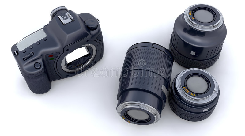 Download Digital SLR Camera Body And Lenses Stock Illustration - Image: 8726172
