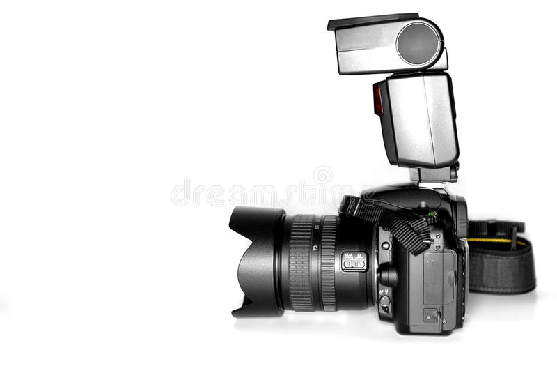 Download Digital SLR Camera With Flash Stock Photo - Image of visualize, single: 22930658