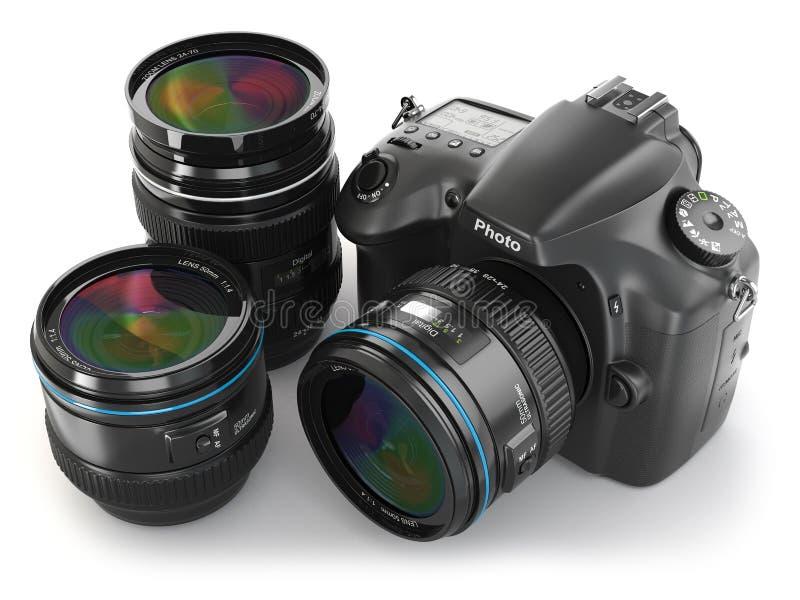 Digital slrkamera med linsen. Fotografiutrustning. royaltyfri illustrationer