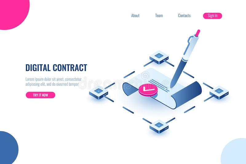 Digital smart contract, isometric icon concept of electronic signature, blockchain technology crypto, paper receipt of. Payment, verified document, flat vector royalty free illustration