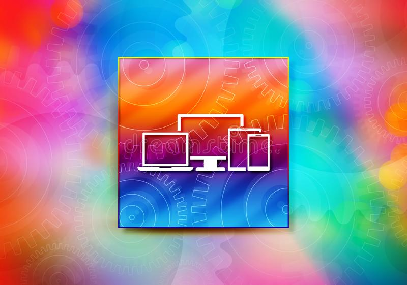 Digital smart devices icon abstract colorful background bokeh design illustration. Digital smart devices icon isolated on colorful banner abstract colorful vector illustration