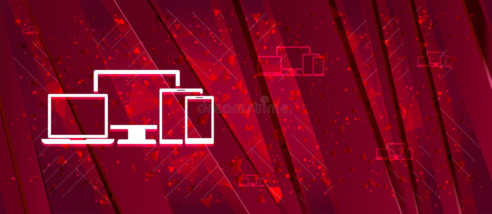 Digital smart devices icon Abstract design bright red banner background. Digital smart devices icon isolated on Abstract design bright red banner background stock illustration