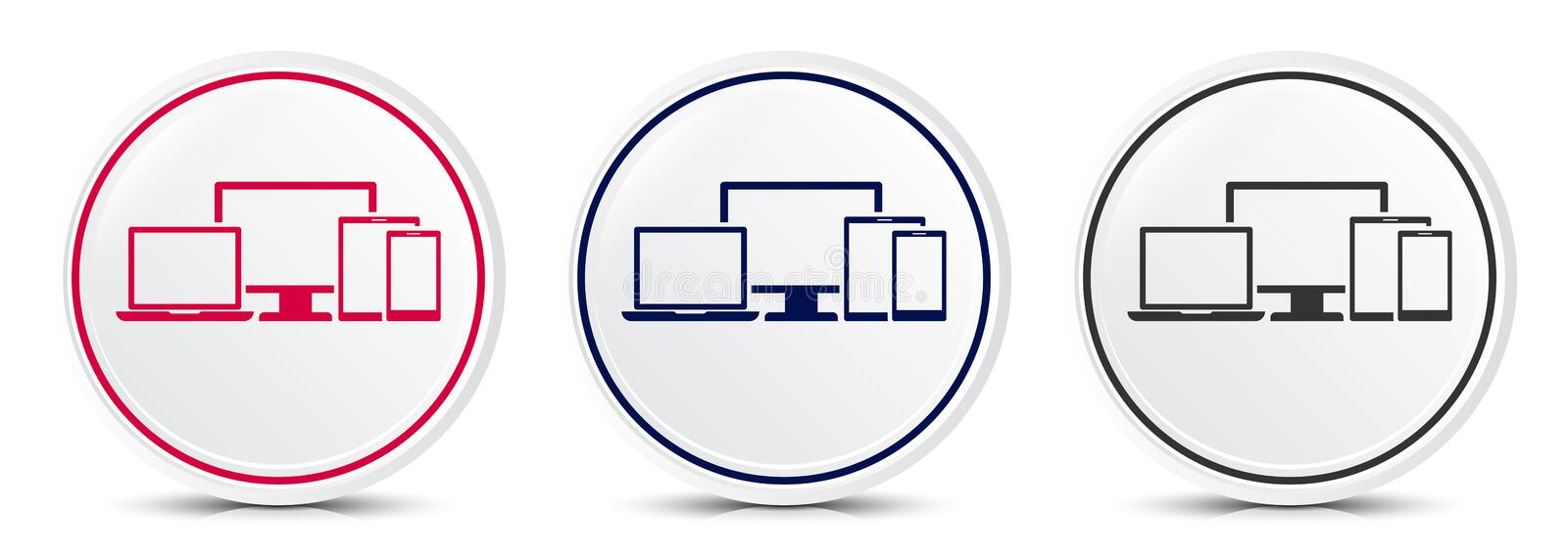 Digital smart devices icon crystal flat round button set illustration design. Isolated on white background vector illustration