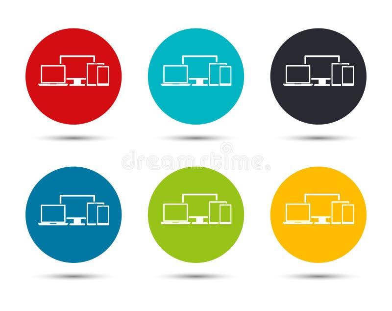 Digital smart devices icon flat round button set illustration design. Isolated on white background royalty free illustration
