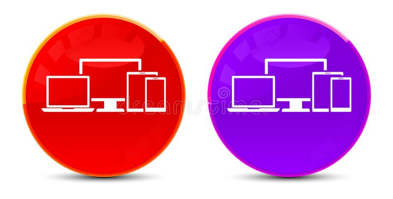 Digital smart devices icon glossy round buttons illustration. Digital smart devices icon isolated on glossy round buttons illustration royalty free illustration