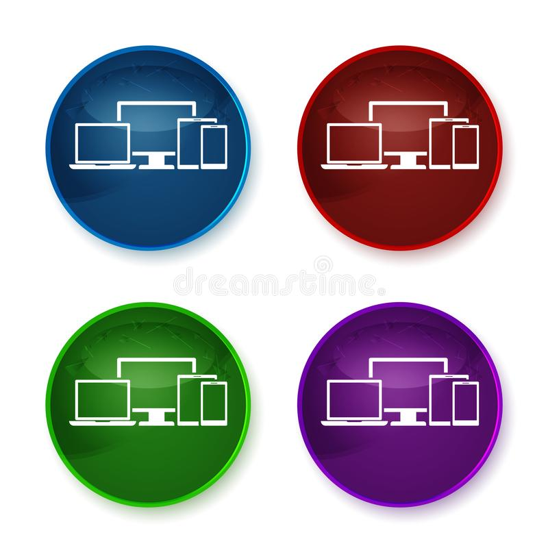 Digital smart devices icon shiny round buttons set illustration. Digital smart devices icon isolated on shiny round buttons set illustration stock illustration