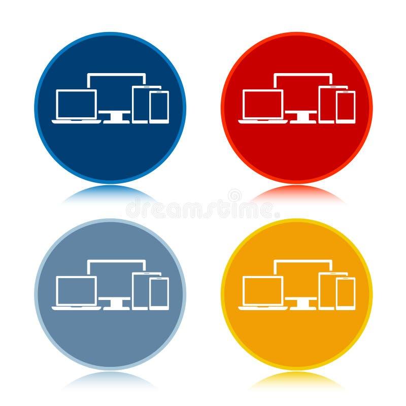 Digital smart devices icon trendy flat round buttons set illustration design. Digital smart devices icon isolated on trendy flat round buttons set reflected vector illustration