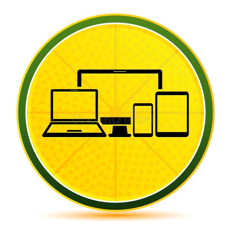 Digital smart devices icon lemon lime yellow round button illustration. Digital smart devices icon isolated on lemon lime yellow round button illustration vector illustration