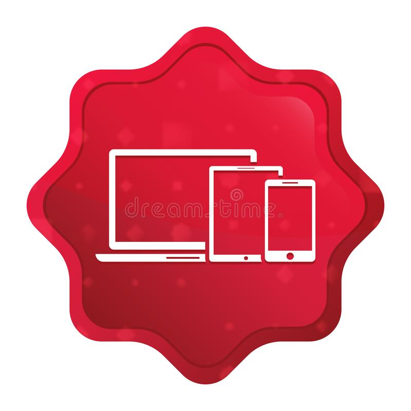 Digital smart devices icon misty rose red starburst sticker button. Digital smart devices icon isolated on misty rose red starburst sticker button vector illustration