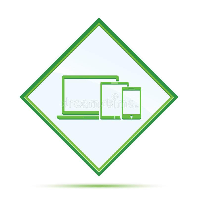 Digital smart devices icon modern abstract green diamond button. Digital smart devices icon isolated on modern abstract green diamond button stock illustration